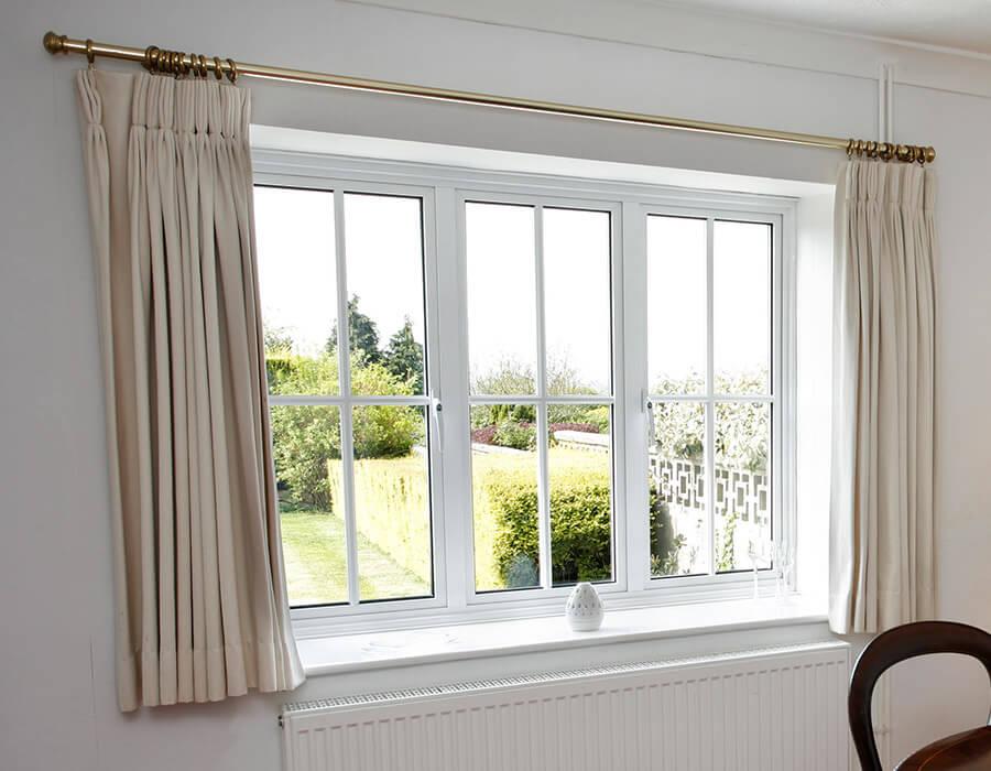 White aluminium casement window interior view