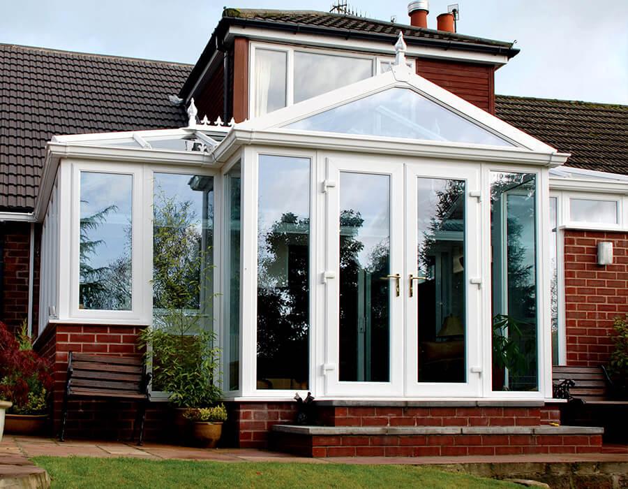 Bespoke p-shaped uPVC conservatory