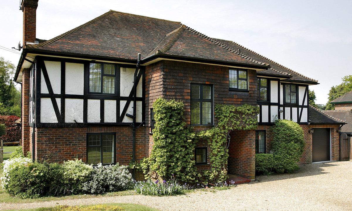 Black aluminium heritage casement windows