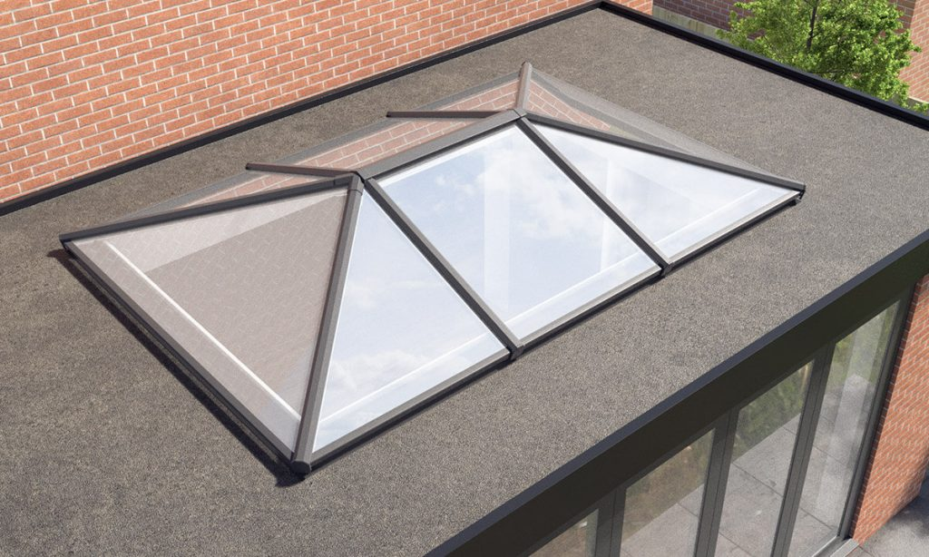 Flat roof extension with a lantern roof