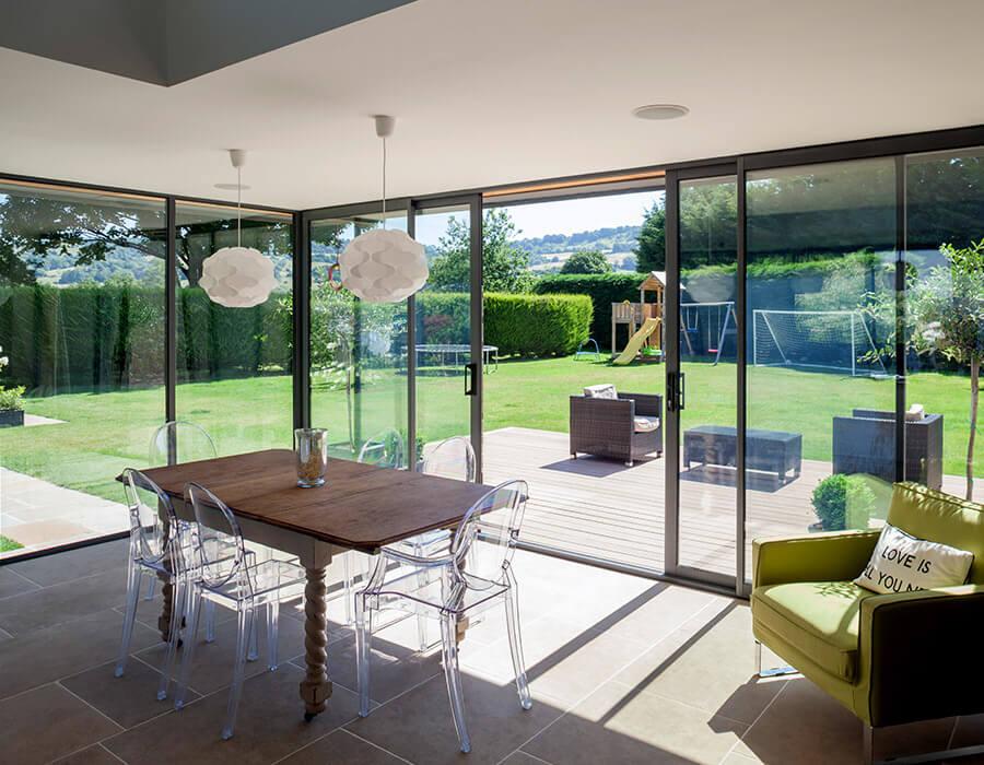 Interior view of aluminium sliding patio doors