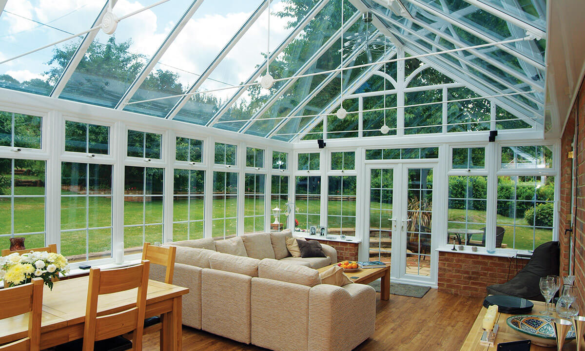 uPVC gable conservatory with a glass roof