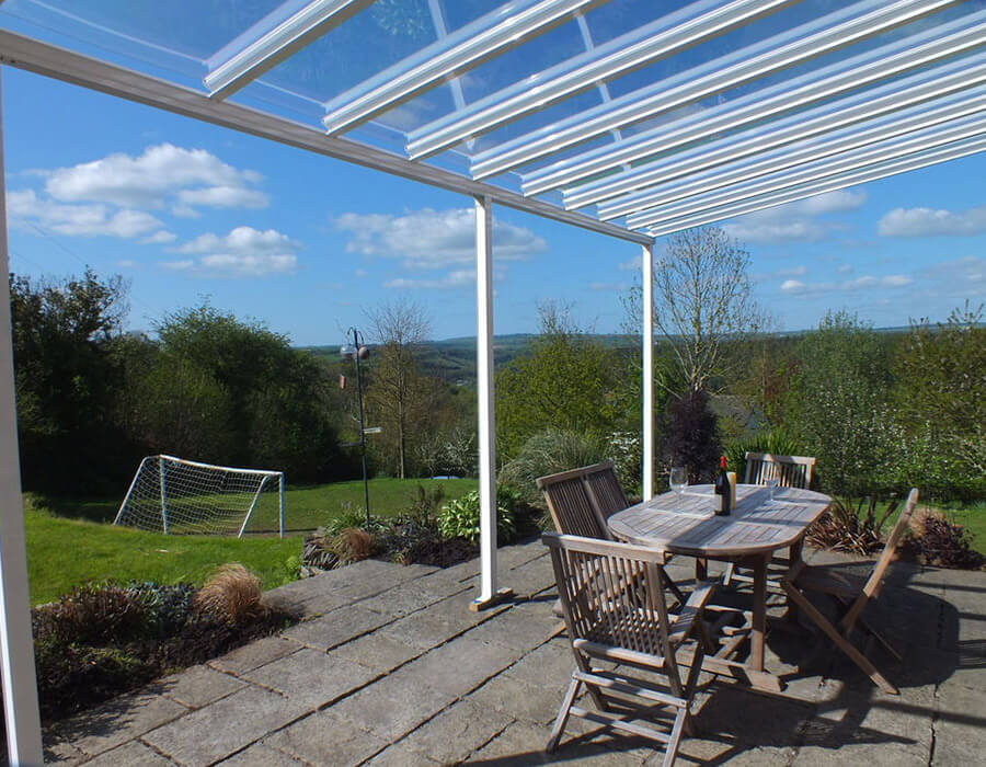 White uPVC canopy with a glass roof