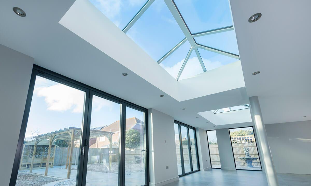 Large white uPVC lantern roof interior view
