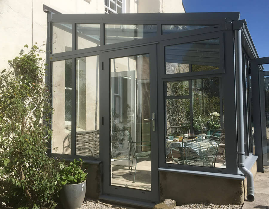 Lean to uPVC conservatory with a single door