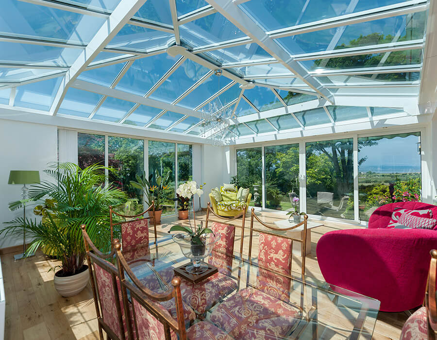 Orangery interior with a full glass roof