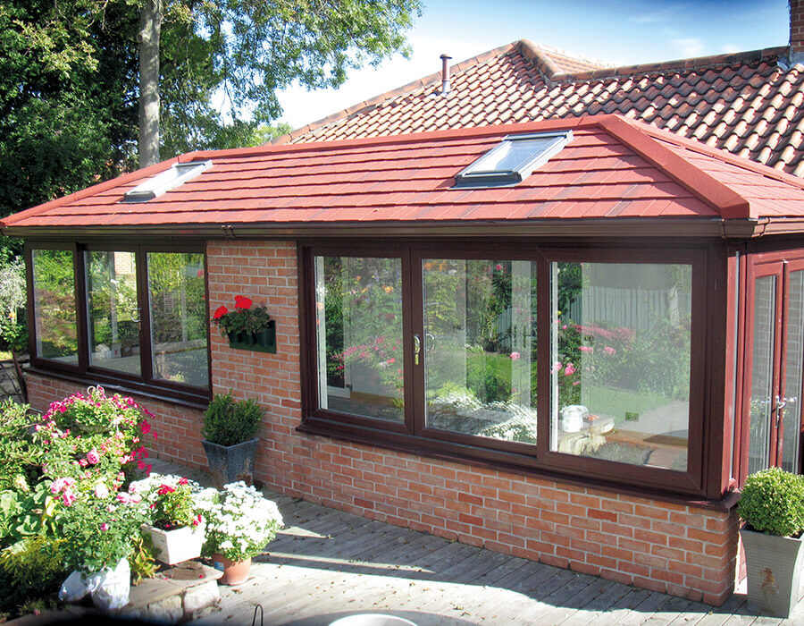 uPVC conservatory with a red tiled roof