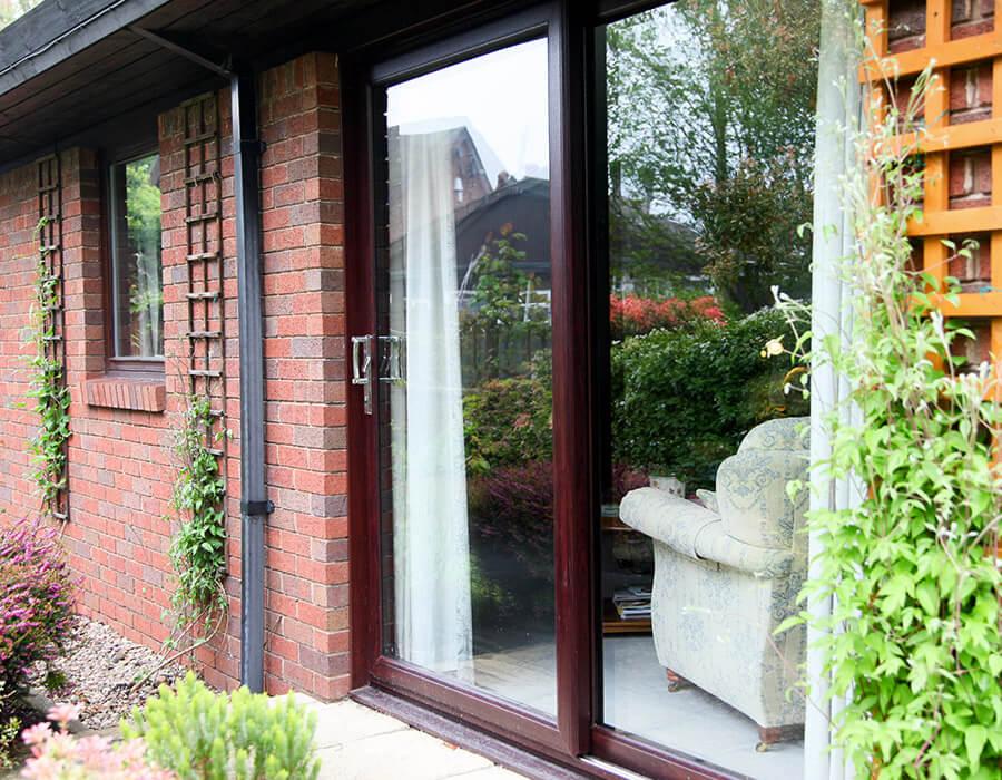 Rosewood effect uPVC sliding patio door