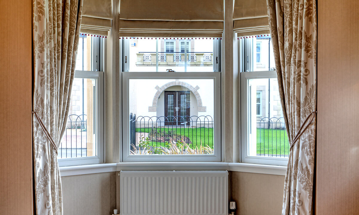 Interior view of vertical sliding sash windows