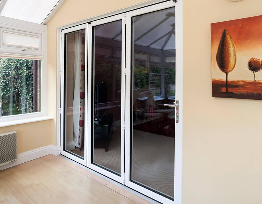 Interior white aluminium bifold doors