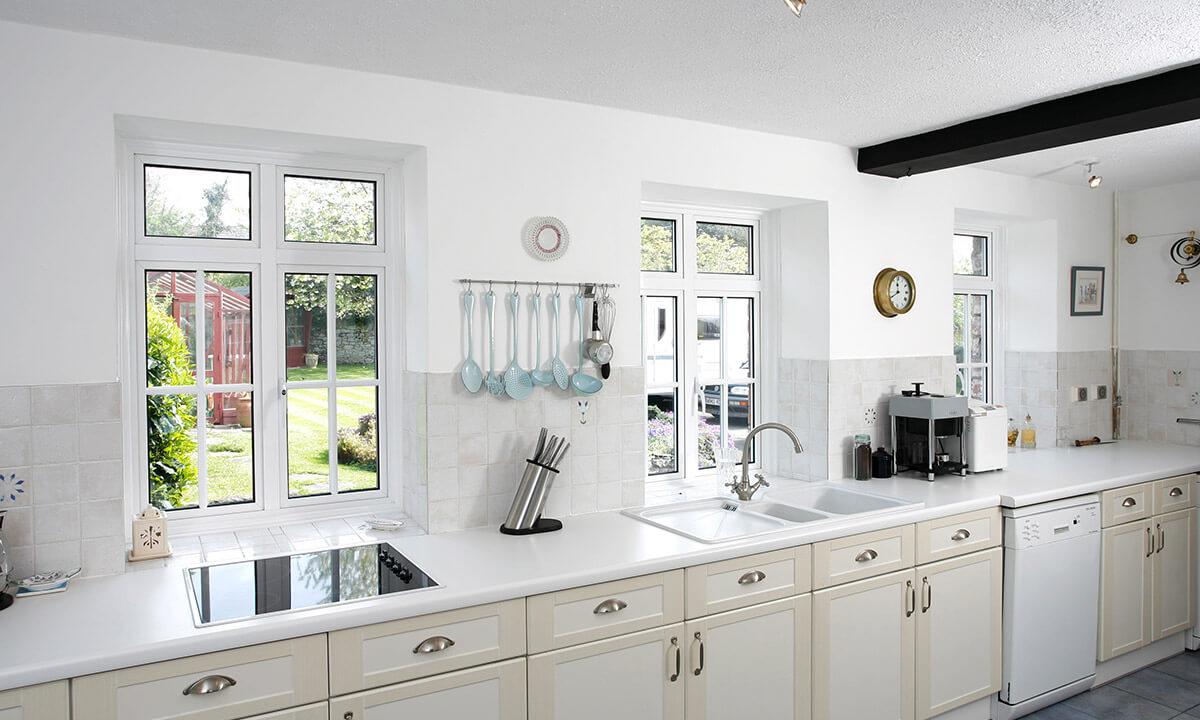 White aluminium casement windows interior view