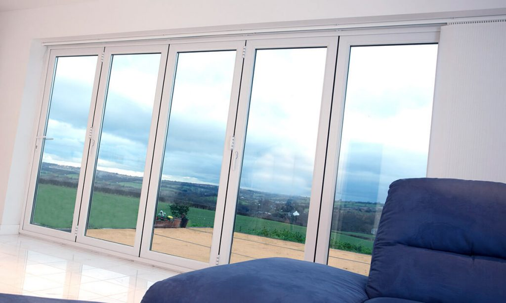 White uPVC bifold door interior view
