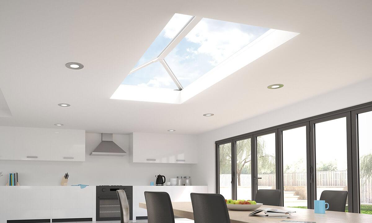 White uPVC lantern roof interior view