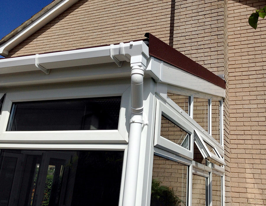 White uPVC lean to conservatory close up