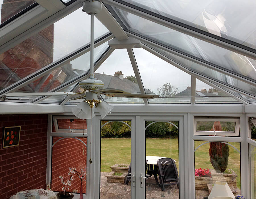 Interior view of a uPVC conservatory and glass roof