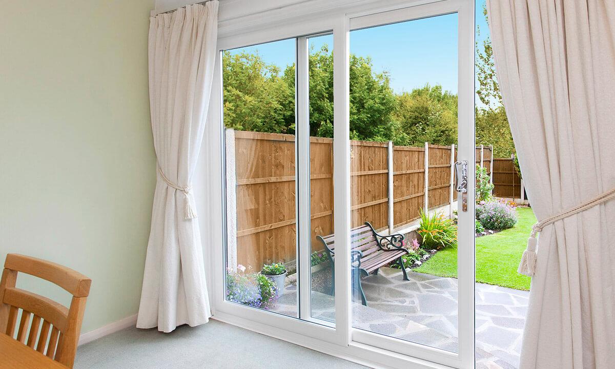 White uPVC sliding patio door