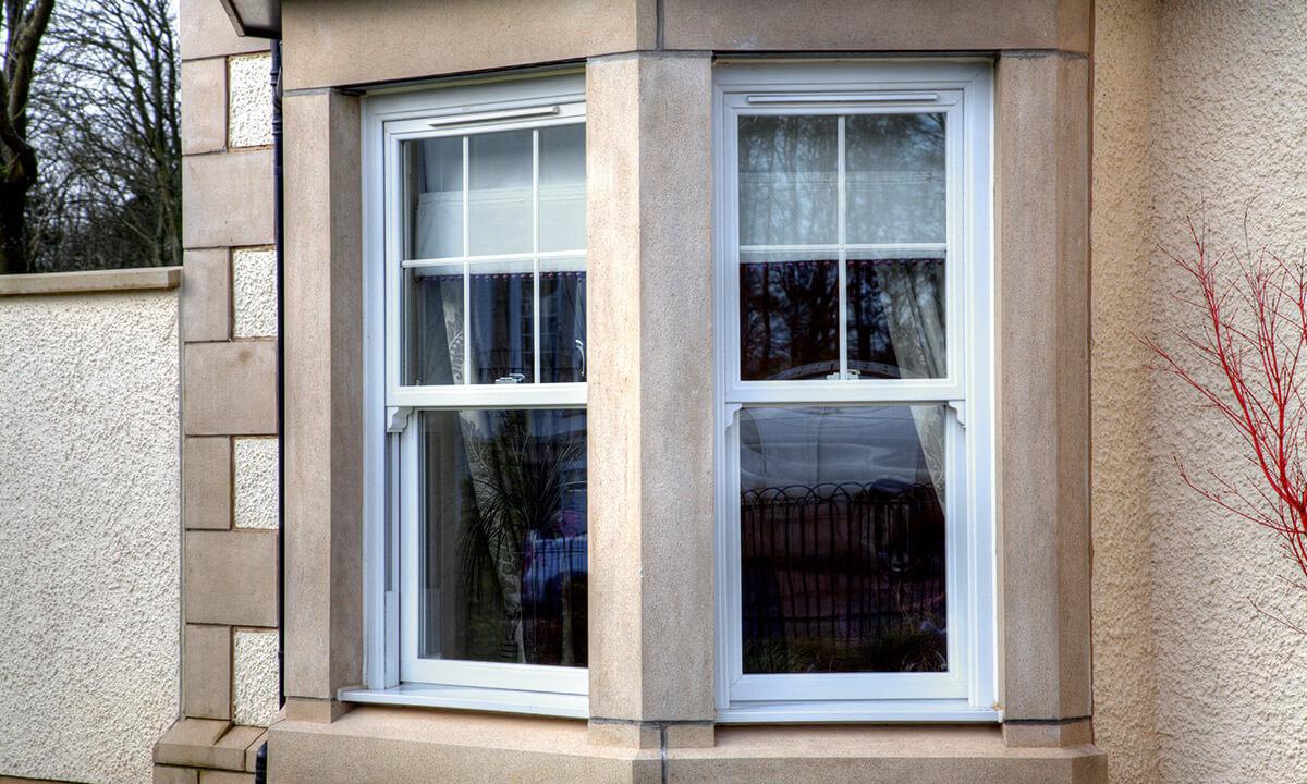 White uPVC sliding sash windows
