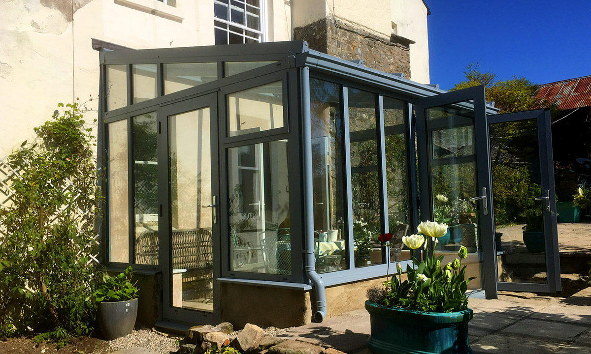 Grey uPVC lean to conservatory