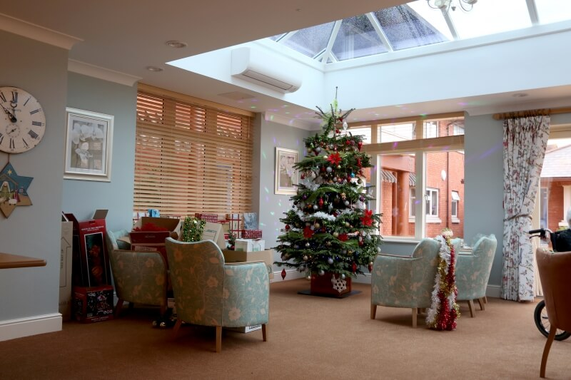 Extension with lantern roof interior at Christmas